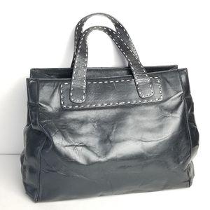 Sondra Roberts Black Leather Contrast Stitch Bag